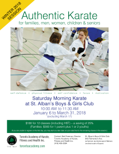St Alban's - Saturday Morning Karate WINTER 2018